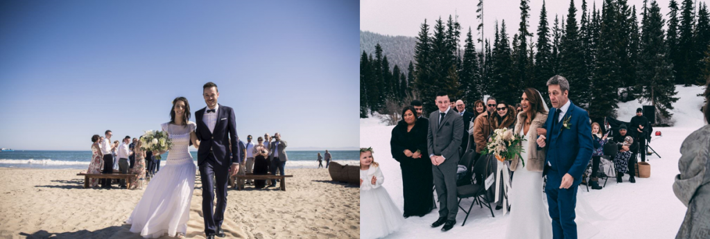Matrimonio in spiaggia o sulla neve